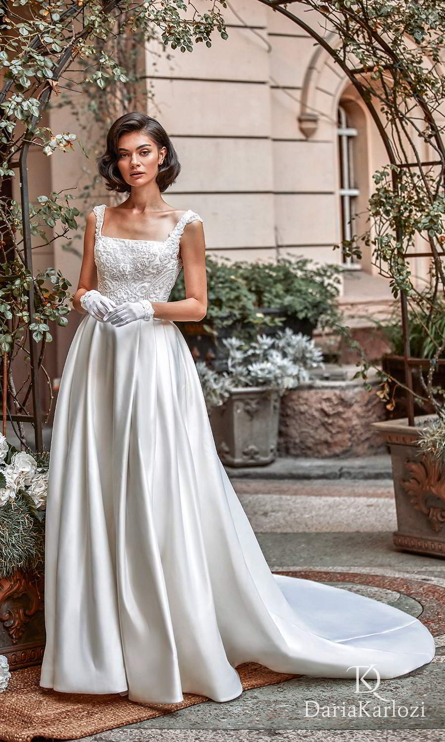 daria karlozi 2021 graceful dream bridal sleeveless thick straps square neckline heavily embellished bodice clean skirt a line ball gown wedding dress chapel train (first love) mv