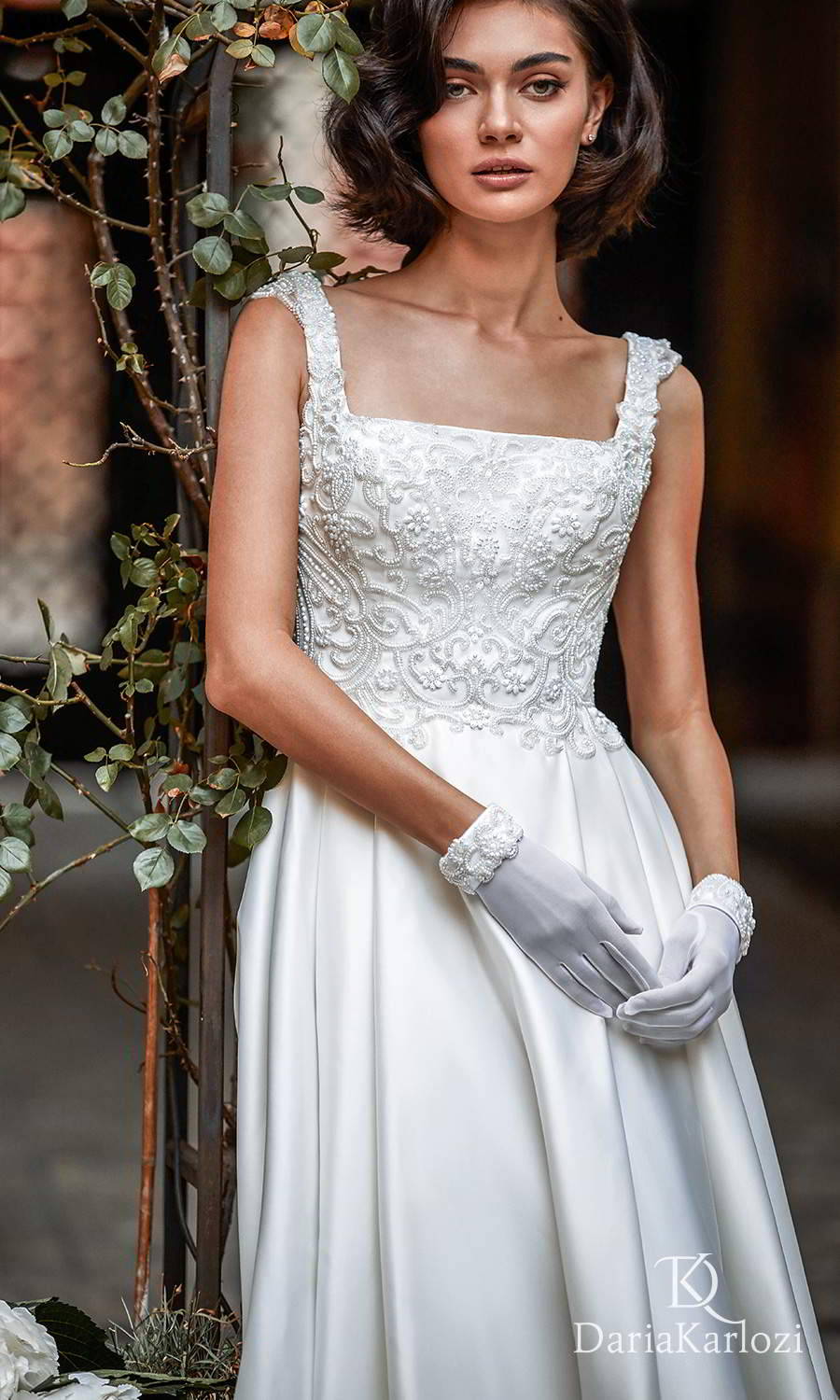 daria karlozi 2021 graceful dream bridal sleeveless thick straps square neckline heavily embellished bodice clean skirt a line ball gown wedding dress chapel train (first love) zv