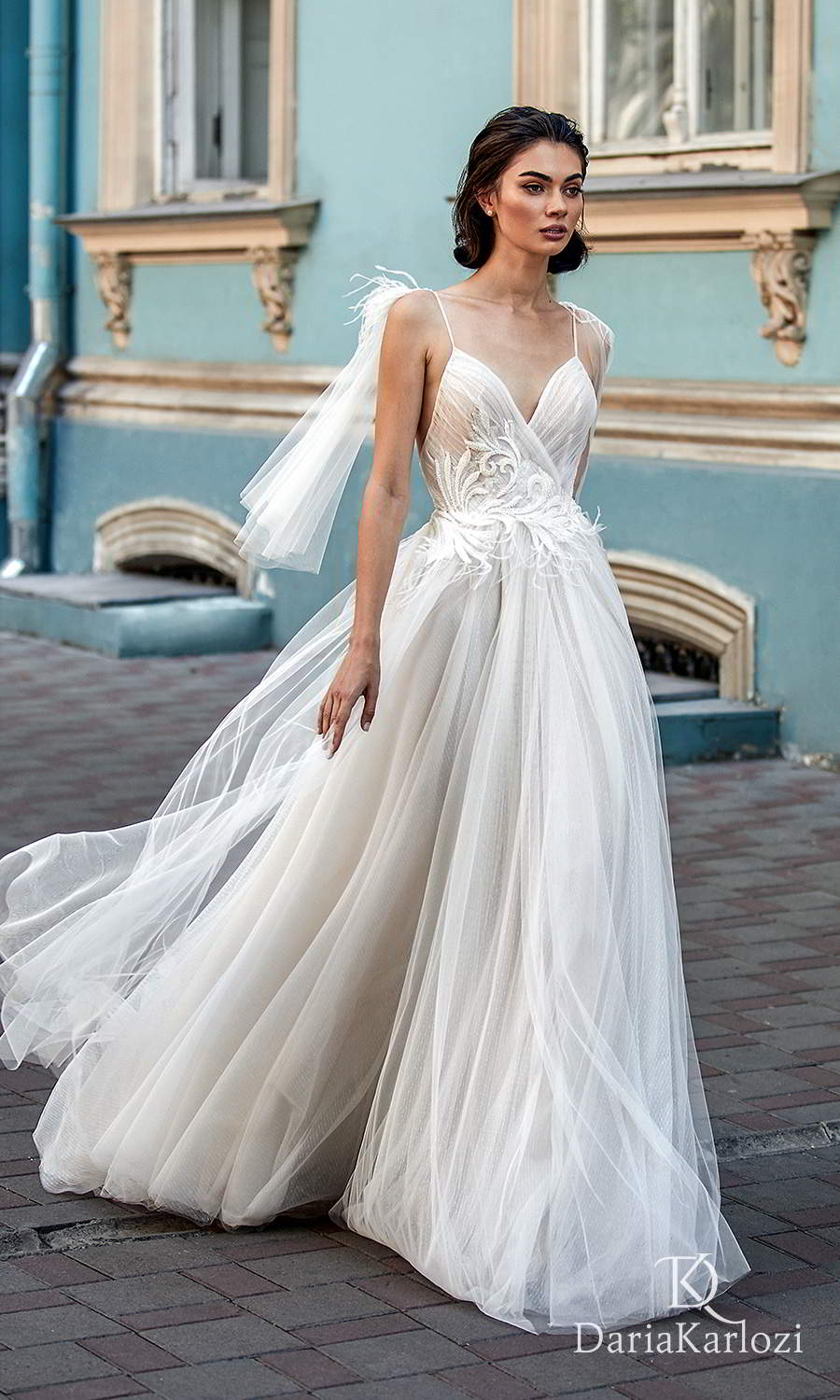 daria karlozi 2021 graceful dream bridal sleeveless thin straps surplice v neckline embellished ruched bodice a line ball gown wedding dress (embrace) mv