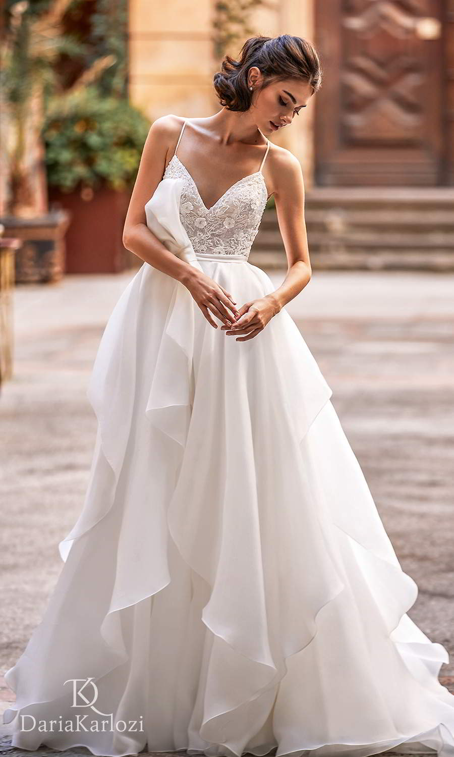 daria karlozi 2021 graceful dream bridal sleeveless thin straps sweetheart neckline embellished bodice clean bodice a line ball gown wedding dress chapel train (brilliance) mv