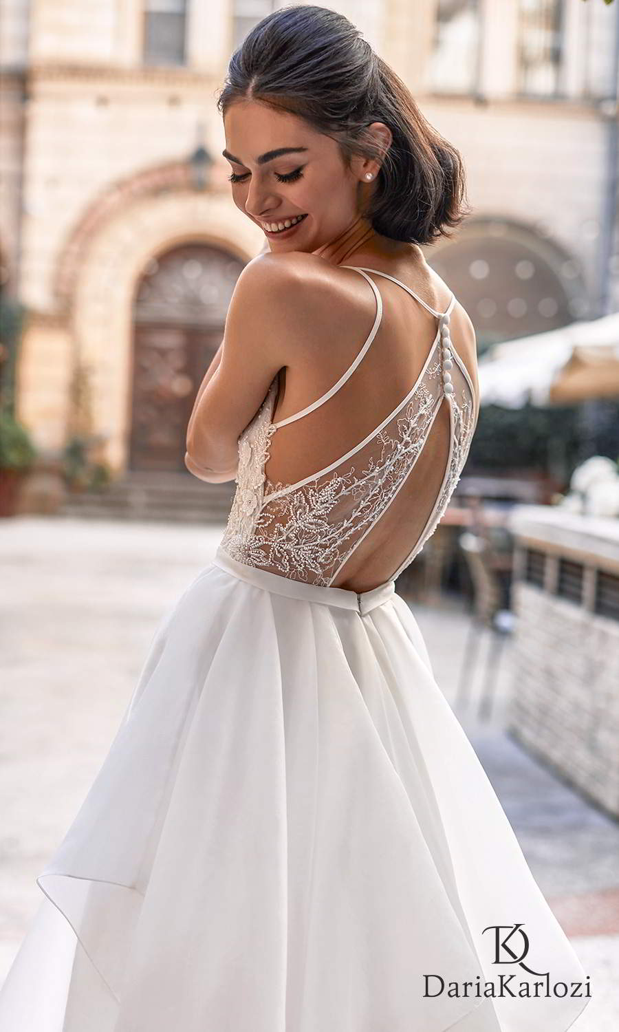 daria karlozi 2021 graceful dream bridal sleeveless thin straps sweetheart neckline embellished bodice clean bodice a line ball gown wedding dress chapel train sheer back (brilliance) zbv