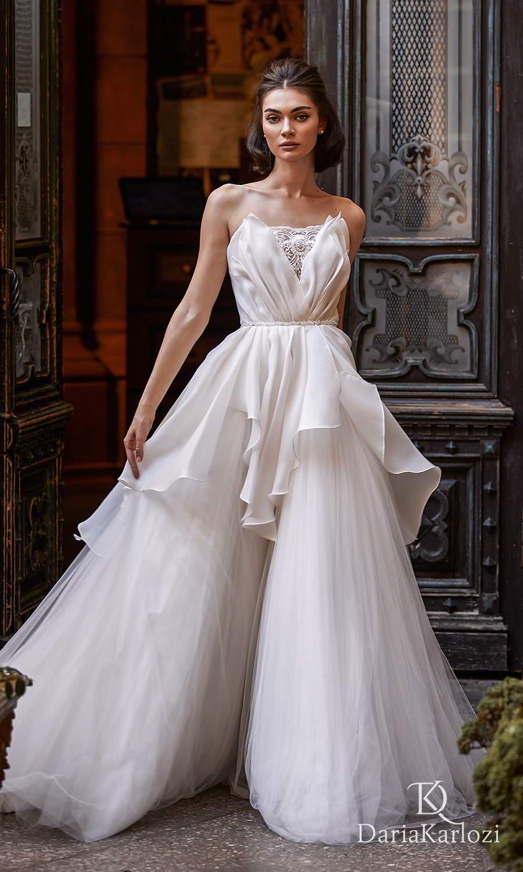 daria karlozi 2021 graceful dream bridal strapless crumbcatcher neckline ruched bodice a line ball gown wedding dress (breath of wind) mv