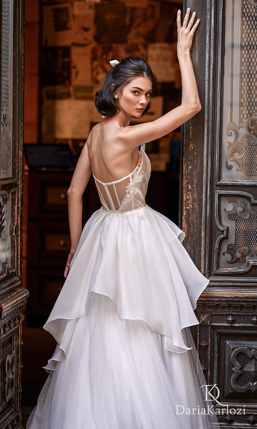 daria karlozi 2021 graceful dream bridal strapless crumbcatcher neckline ruched bodice a line ball gown wedding dress sheer back (breath of wind) zbv