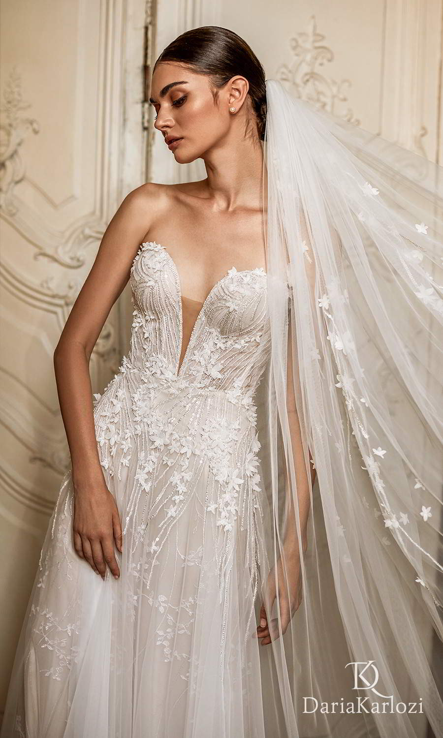 daria karlozi 2021 graceful dream bridal strapless sweetheart neckline fully embellished a line ball gown wedding dress (inspiration) zv