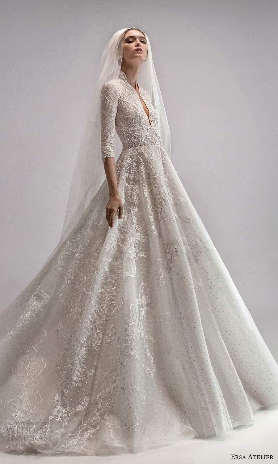 ersa atelier spring 2021 bridal 3 quarter sleeve high plunging v neckline fully embellished a line ball gown wedding dress chapel train (7) mv