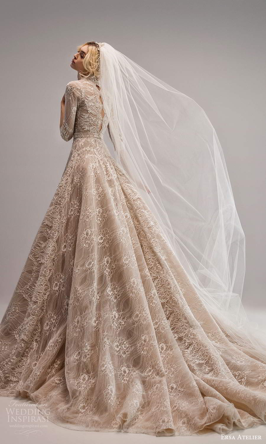 ersa atelier spring 2021 bridal 3 quarter sleeves plunging v neckline fully embellished lace a line ball gown wedding dress chapel train (14) bv