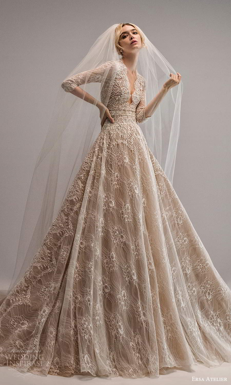 ersa atelier spring 2021 bridal 3 quarter sleeves plunging v neckline fully embellished lace a line ball gown wedding dress chapel train (14) mv