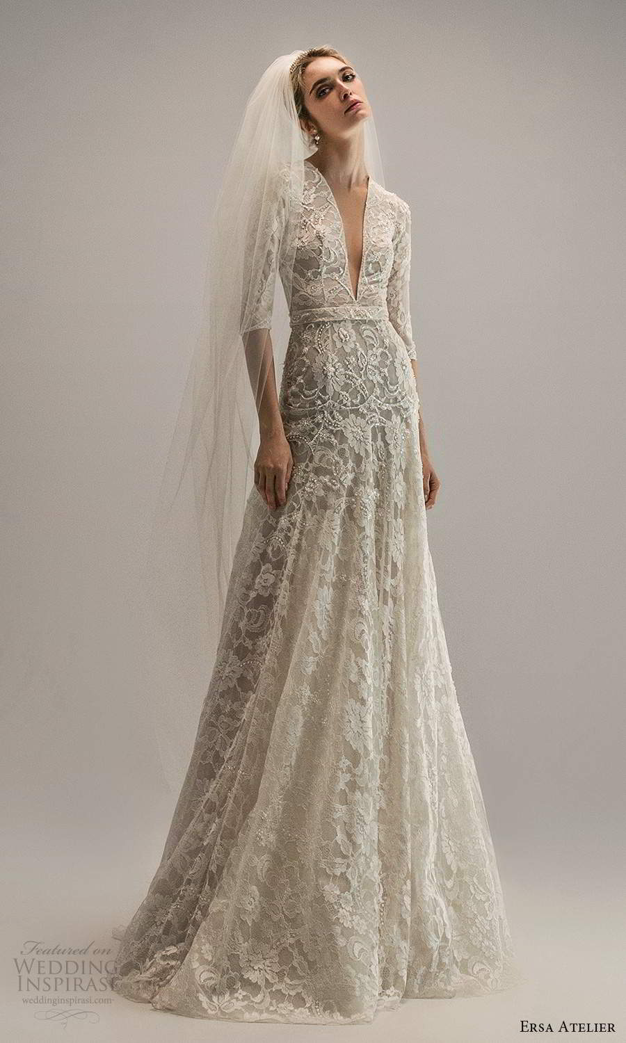 ersa atelier spring 2021 bridal 3 quarter sleeves plunging v neckline fully embellished lace a line wedding dress chapel train (22) mv