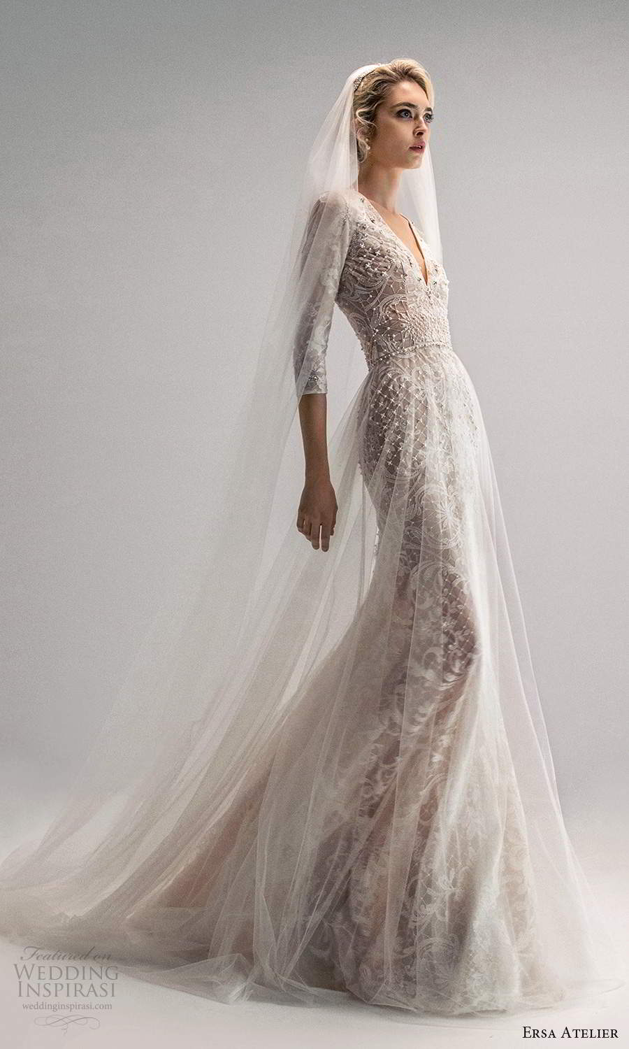 ersa atelier spring 2021 bridal 3 quarter sleeves plunging v neckline fully embellished trumpet a line wedding dress a line overskirt chapel train (21) sv