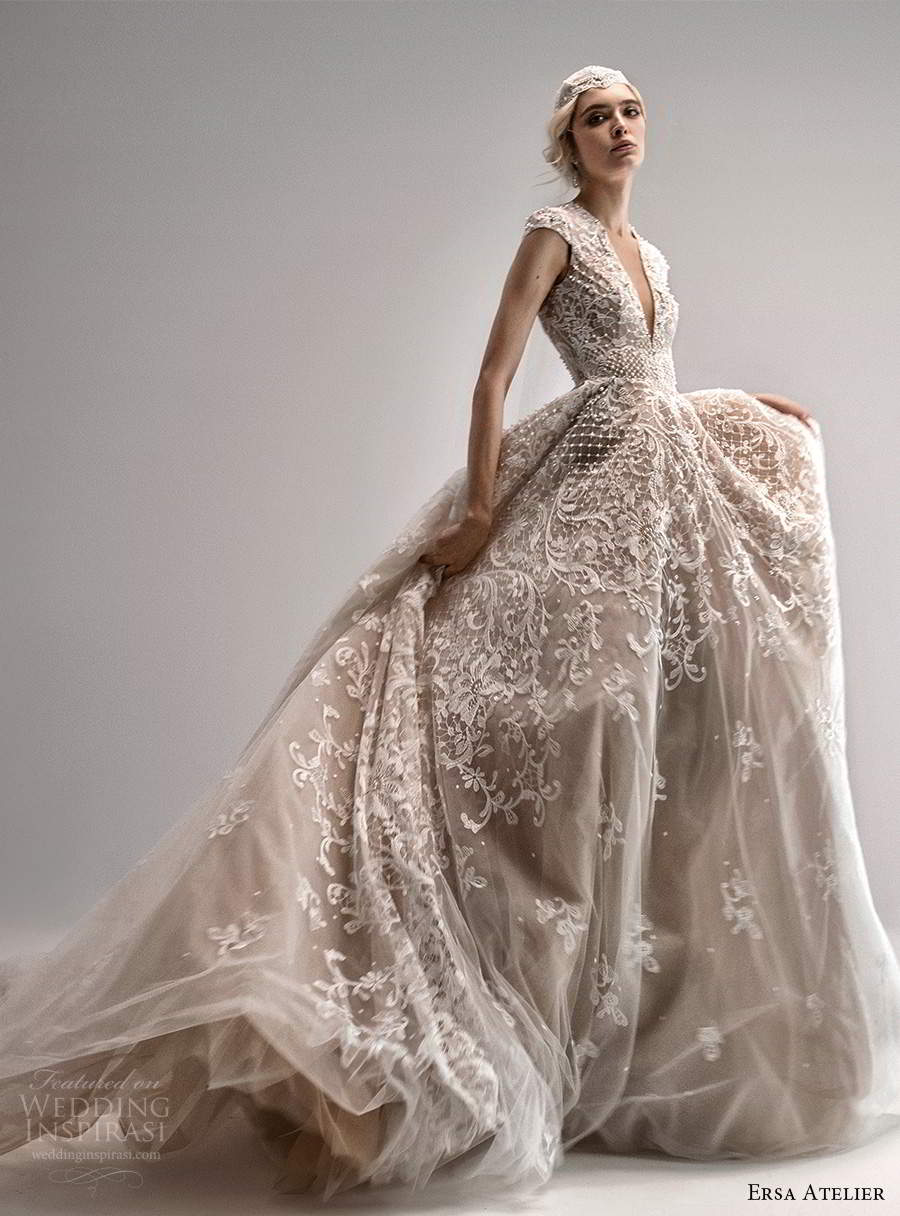 ersa atelier spring 2021 bridal cap sleeves plunging v neckline fully embellished lace a line ball gown wedding dress chapel train blush (5) mv