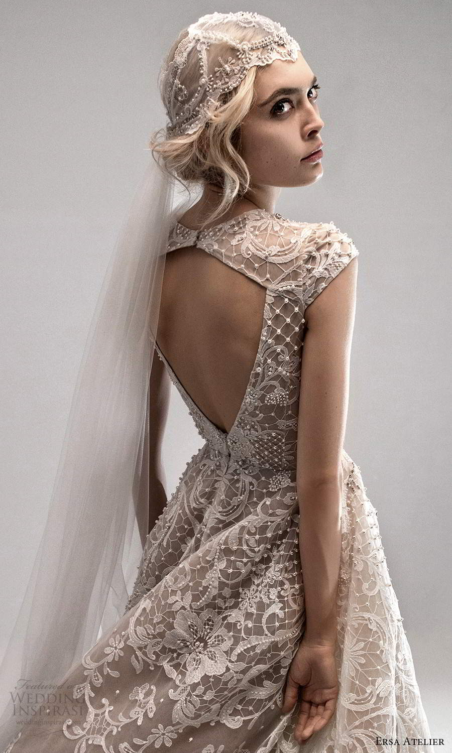 ersa atelier spring 2021 bridal cap sleeves plunging v neckline fully embellished lace a line ball gown wedding dress chapel train blush cutout back (5) zv