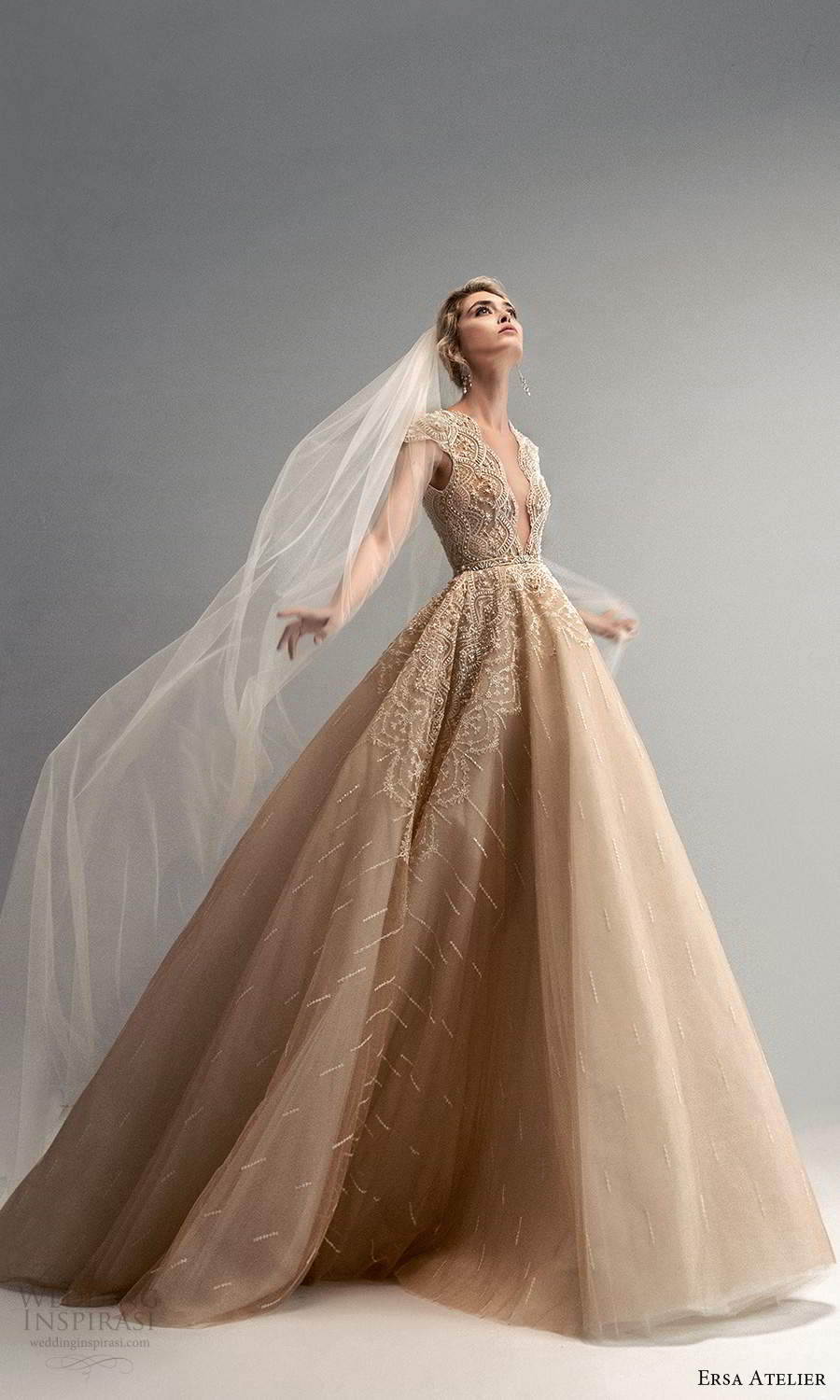 ersa atelier spring 2021 bridal cap sleeves plunging v neckline heavily embellished bodice a line ball gown wedding dress chapel train gold (19) mv
