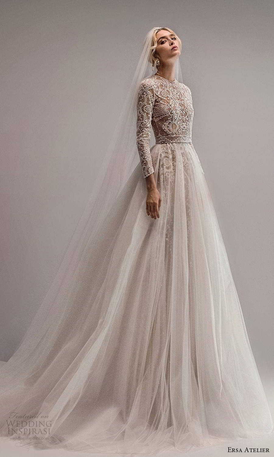 ersa atelier spring 2021 bridal long sleeve jewel neckline fully embellished sheath wedding dress ball gown overskirt chapel train (8) mv