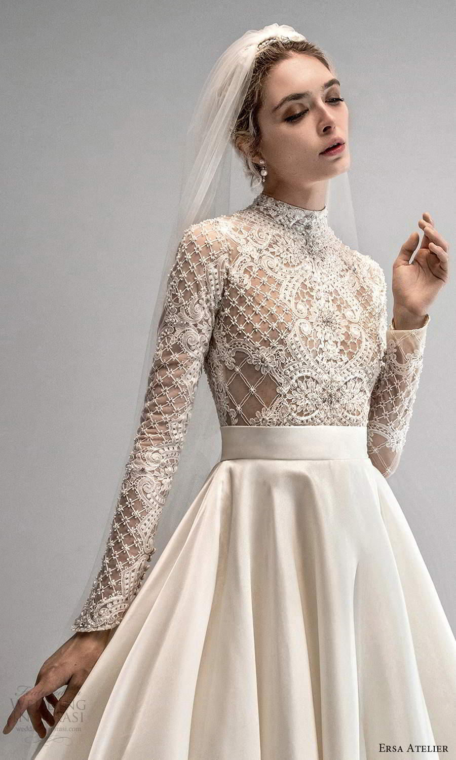 ersa atelier spring 2021 bridal long sleeves high neckline embellished bodice clean skirt a line ball gown wedding dress chapel train (6) mv