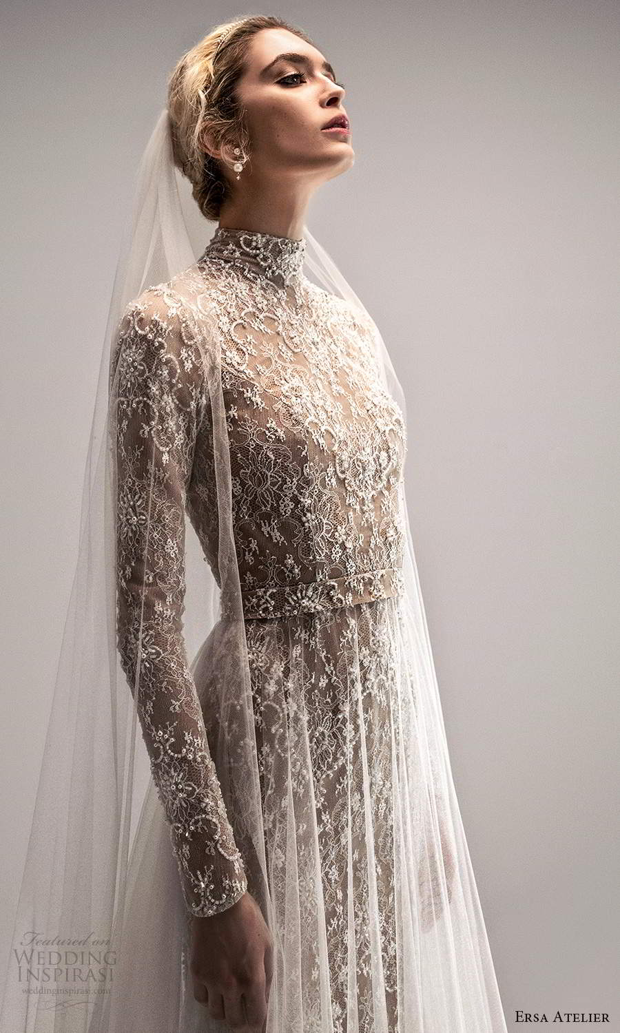 ersa atelier spring 2021 bridal long sleeves high neckline fully embellished lace a line wedding dress sheer overksirt chapel train (23) zv