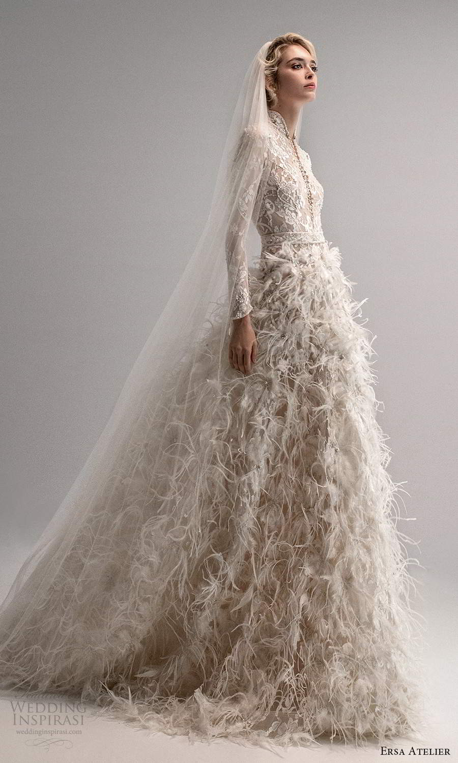 ersa atelier spring 2021 bridal long sleeves high neckline plunging split neckline fully embellished feather skirt a line ball gown wedding dress chapel train (3) mv