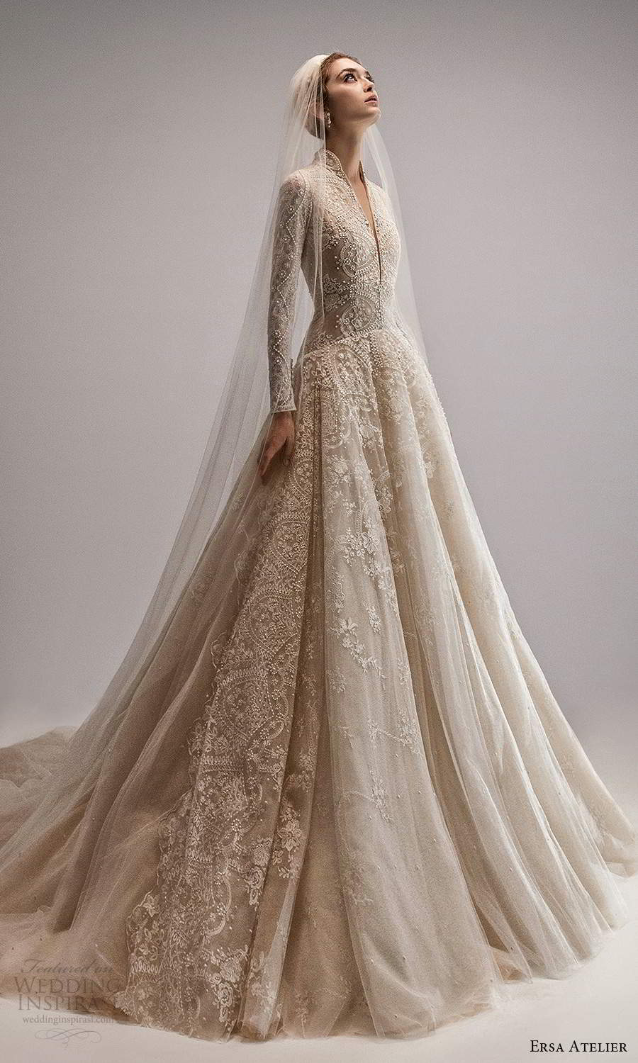 ersa atelier spring 2021 bridal long sleeves high v neckline fully embellished drop waist a line ball gown wedding dress chapel train (11) mv