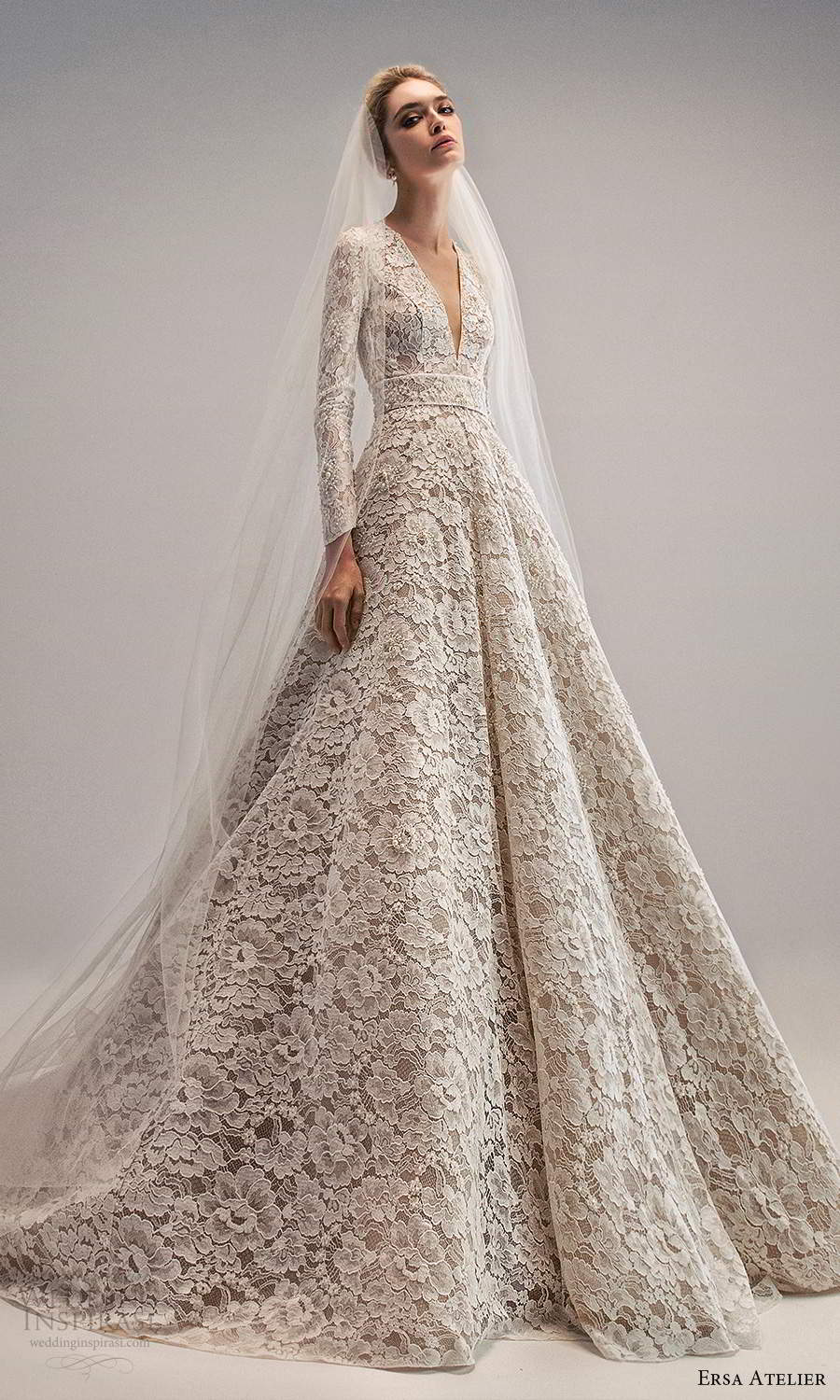 ersa atelier spring 2021 bridal long sleeves plunging neckline fully embellished lace a line ball gown wedding dress chapel train (17) mv