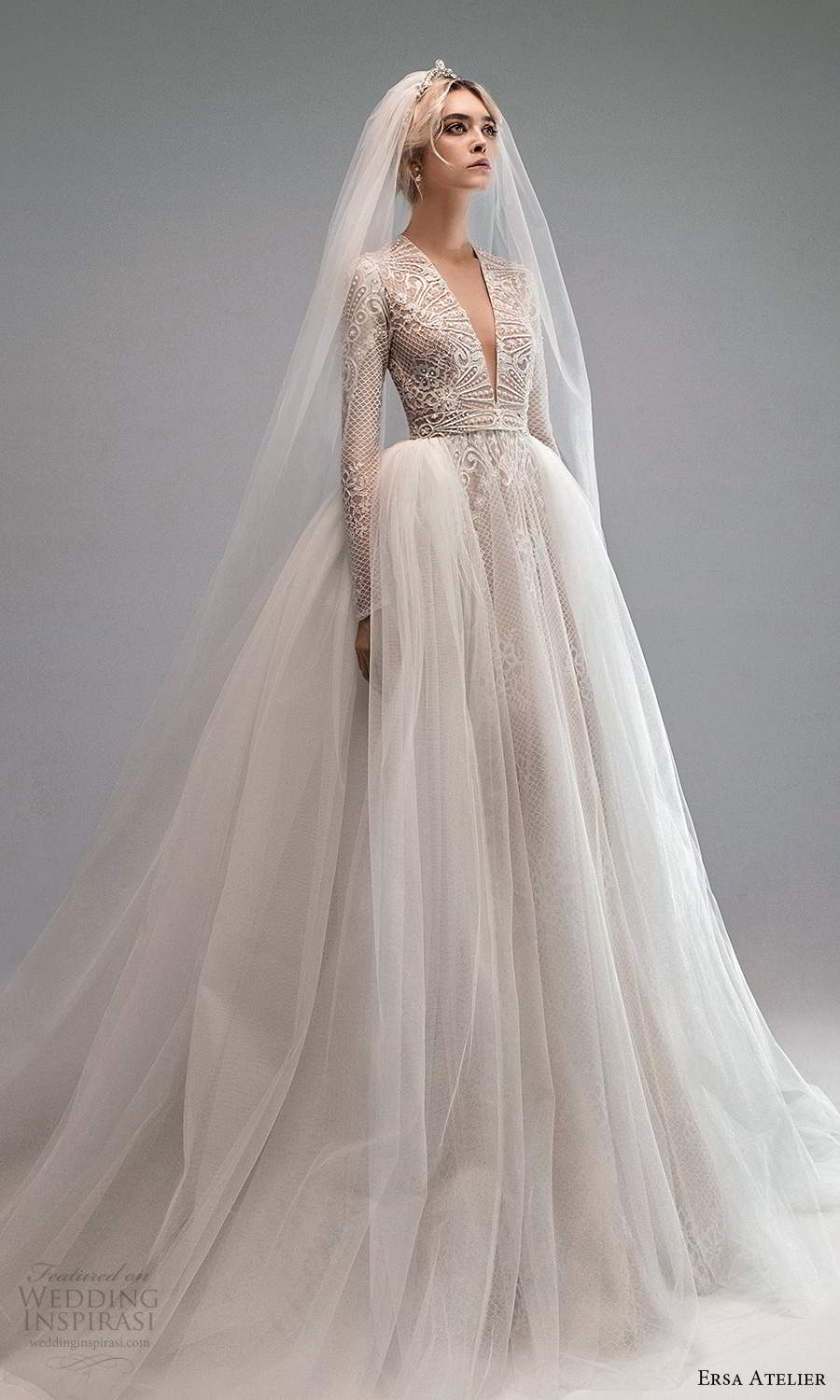 ersa atelier spring 2021 bridal long sleeves plunging v neckline embellished a line wedding dress ball gown overskirt chapel train (4) mv