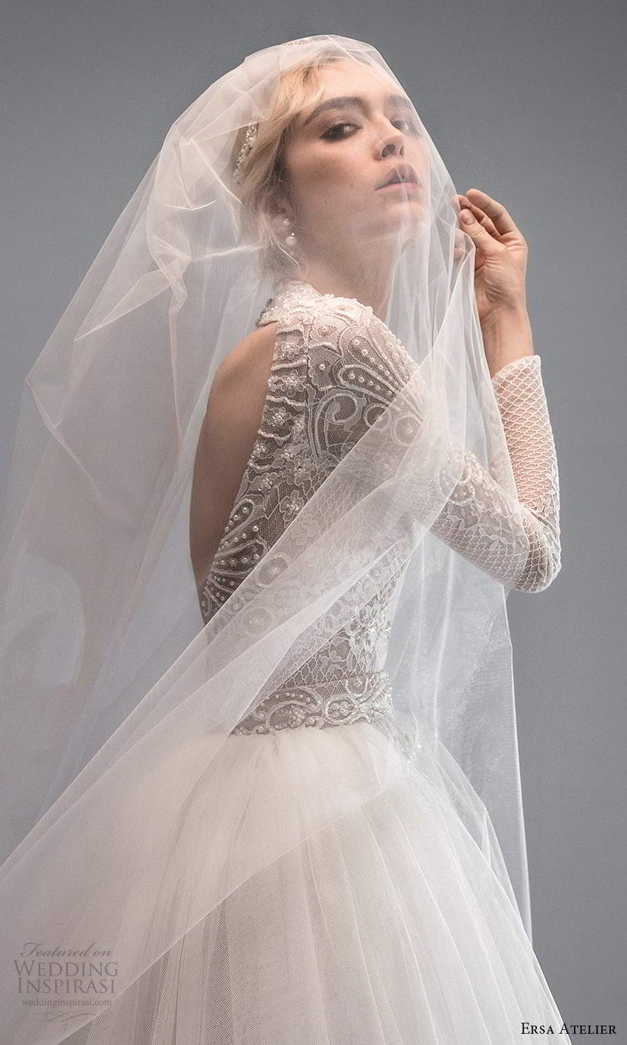 ersa atelier spring 2021 bridal long sleeves plunging v neckline embellished a line wedding dress ball gown overskirt chapel train cutout back (4) zsv