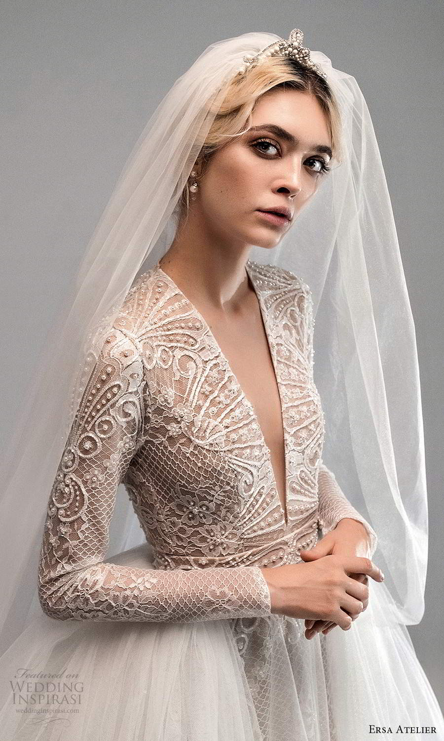 ersa atelier spring 2021 bridal long sleeves plunging v neckline embellished a line wedding dress ball gown overskirt chapel train cutout back (4) zv