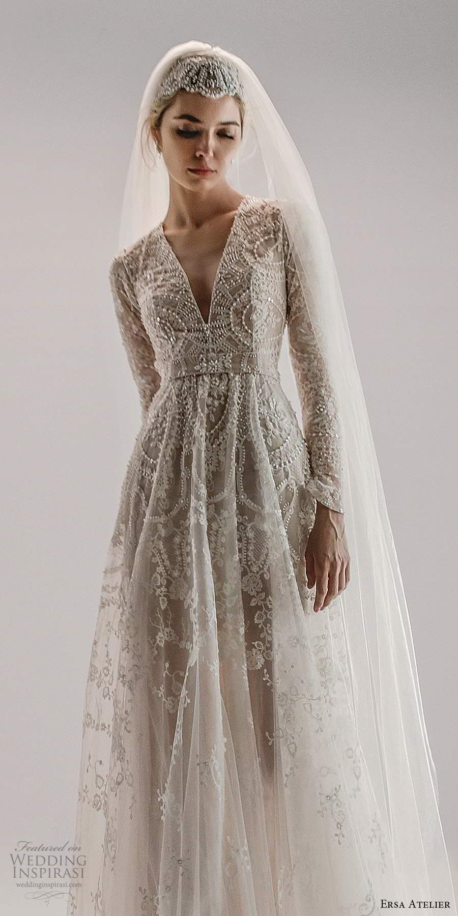 ersa atelier spring 2021 bridal long sleeves plunging v neckline fully embellished a line wedding dress chapel train (9) mv