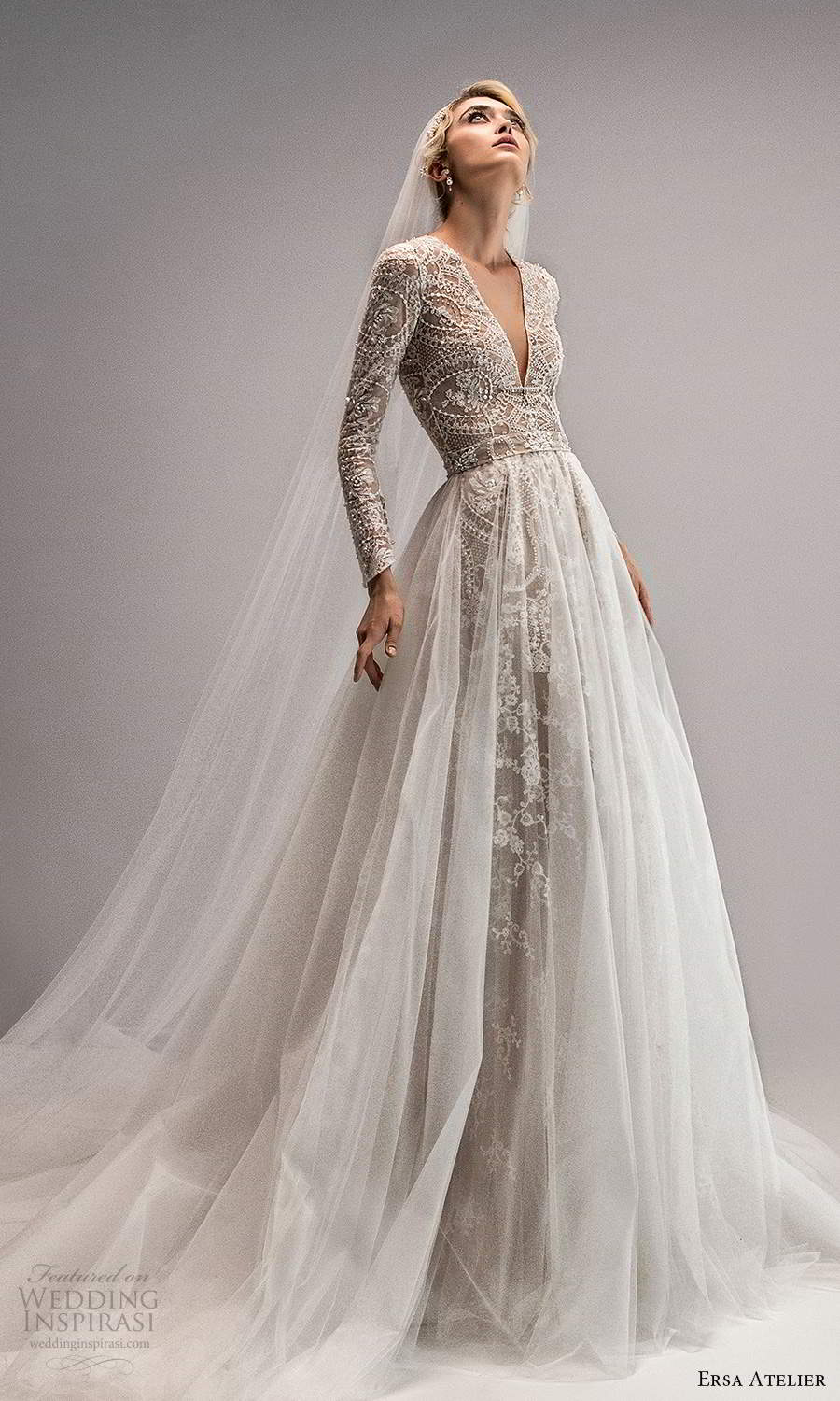 ersa atelier spring 2021 bridal long sleeves plunging v neckline fully embellished a line wedding dress chapel train ball gown overskirt (9) mv