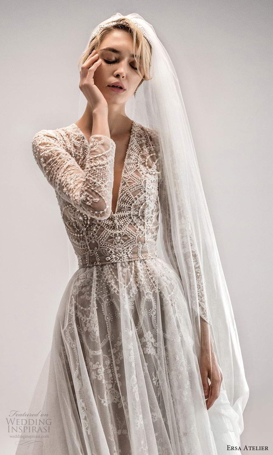 ersa atelier spring 2021 bridal long sleeves plunging v neckline fully embellished a line wedding dress chapel train ball gown overskirt (9) zv