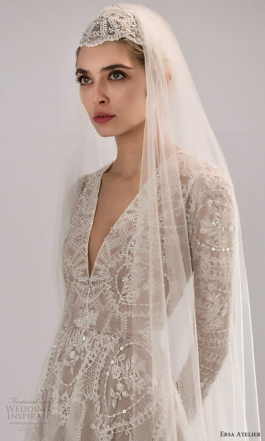 ersa atelier spring 2021 bridal long sleeves plunging v neckline fully embellished a line wedding dress chapel train veil (9) zv