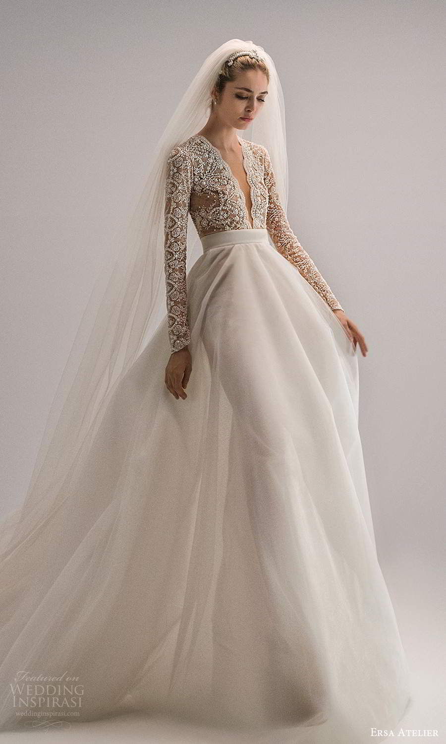 ersa atelier spring 2021 bridal long sleeves plunging v neckline heavily embellished bodice a line wedding dress chapel train (15) mv