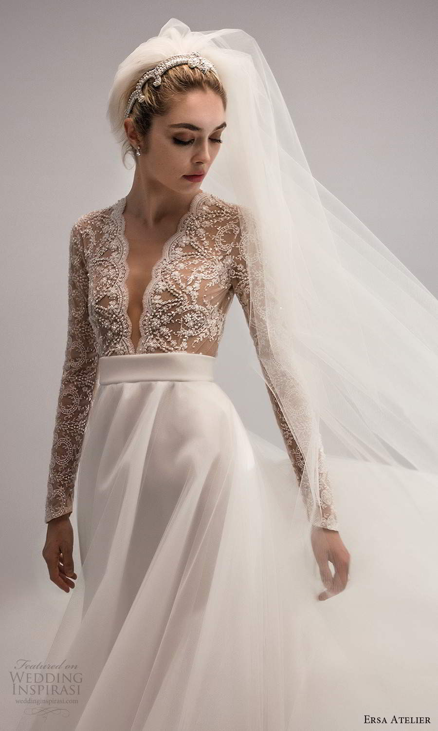 ersa atelier spring 2021 bridal long sleeves plunging v neckline heavily embellished bodice a line wedding dress chapel train cutout back (15) zv