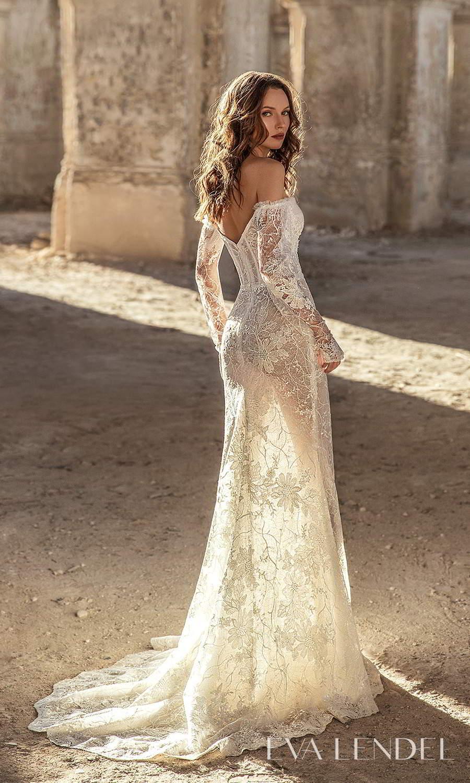 eva lendel 2021 golden hour bridal detached long sleeves sweetheart neckline fully embellished lace sheath wedding dress chapel train (gwen) bv