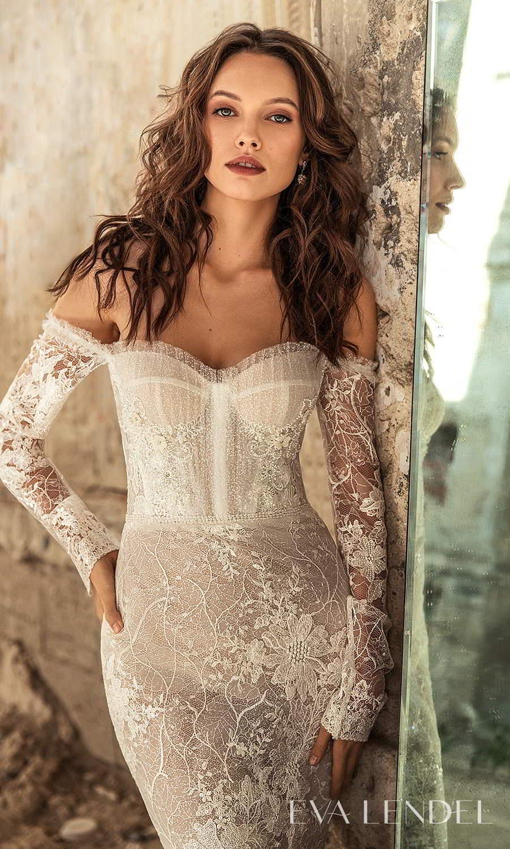 eva lendel 2021 golden hour bridal detached long sleeves sweetheart neckline fully embellished lace sheath wedding dress chapel train (gwen) zv