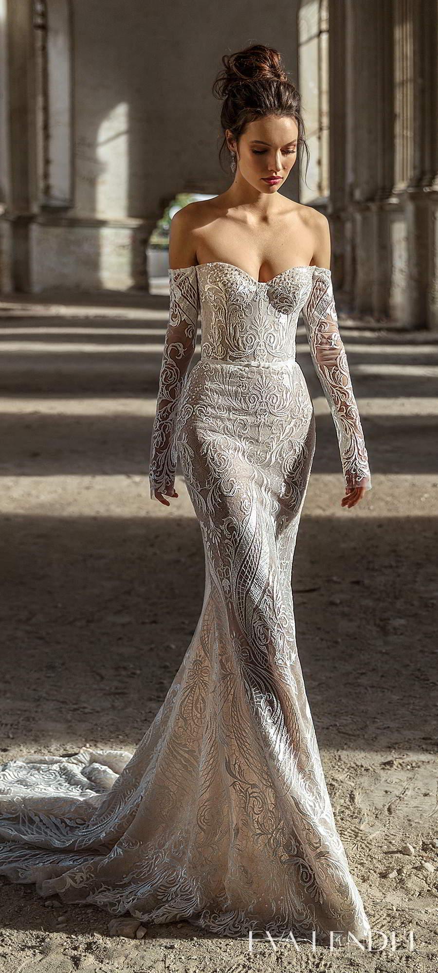 eva lendel 2021 golden hour bridal detached long sleeves sweetheart neckline fully embellished sheath wedding dress chapel train (madlen) mv