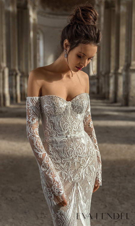 eva lendel 2021 golden hour bridal detached long sleeves sweetheart neckline fully embellished sheath wedding dress chapel train (madlen) zv