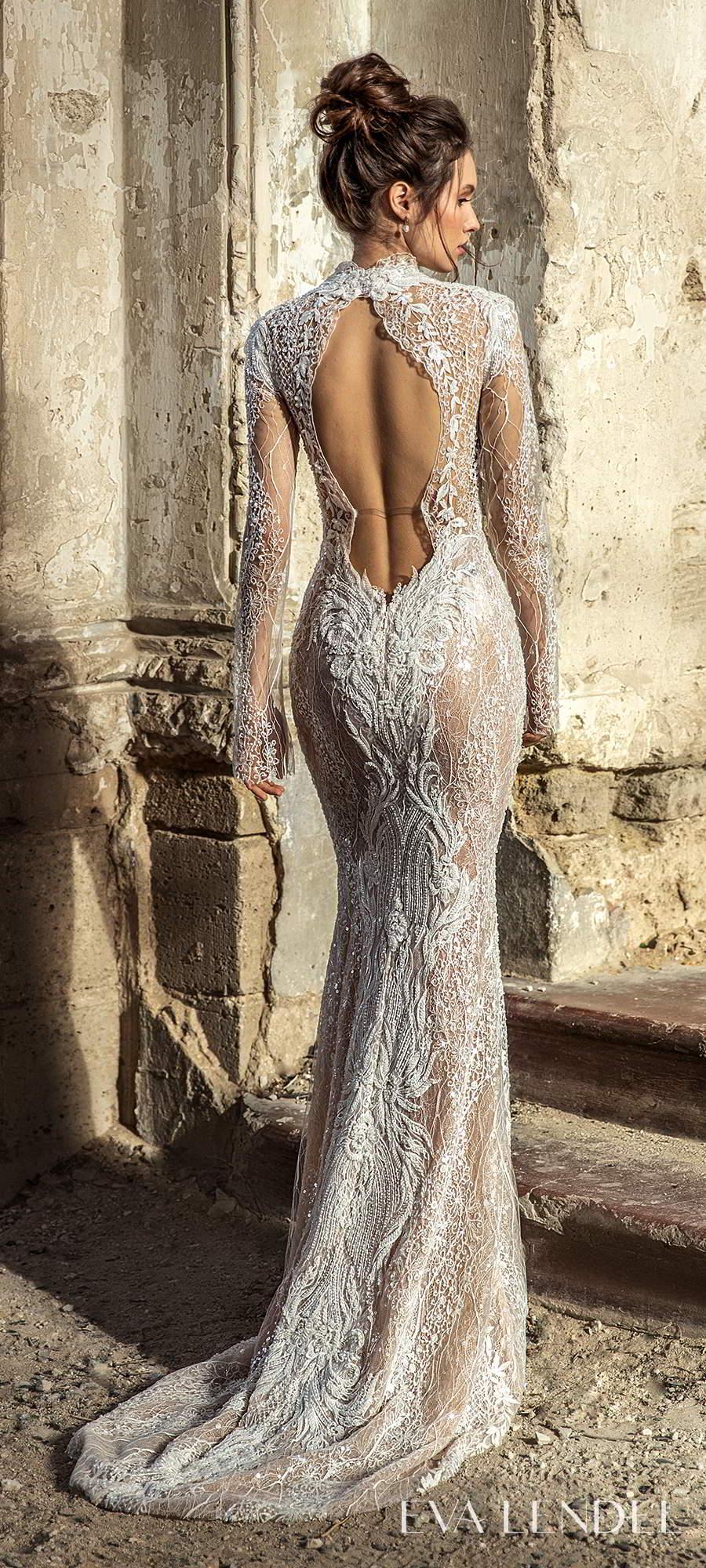 eva lendel 2021 golden hour bridal long sleeve high neckline fully embellished sheath wedding dress sweep train keyhole back (bredley) bv