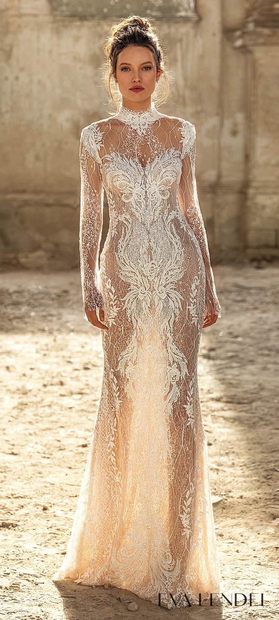 eva lendel 2021 golden hour bridal long sleeve high neckline fully embellished sheath wedding dress sweep train keyhole back (bredley) mv