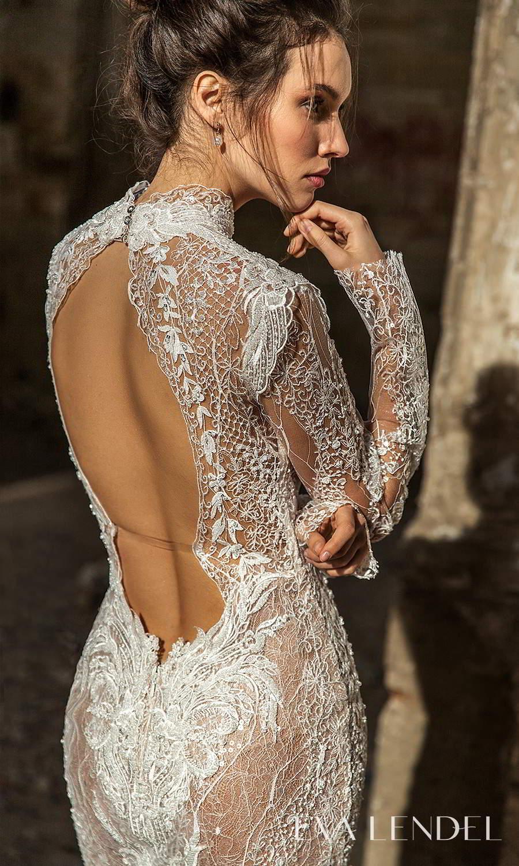 eva lendel 2021 golden hour bridal long sleeve high neckline fully embellished sheath wedding dress sweep train keyhole back (bredley) zbv