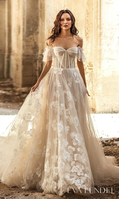 eva lendel 2021 golden hour bridal off shoulder straps sweetheart neckline fully embellished a line ball gown wedding dress chapel train (tiziana) mv