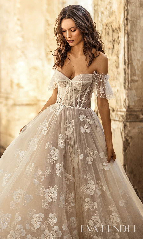 eva lendel 2021 golden hour bridal off shoulder straps sweetheart neckline fully embellished a line ball gown wedding dress chapel train (tiziana) zv
