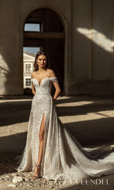 eva lendel 2021 golden hour bridal off shoulder straps sweetheart neckline fully embellished sheath wedding dress a line overskit chapel train (sydney) fv