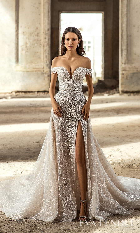 eva lendel 2021 golden hour bridal off shoulder straps sweetheart neckline fully embellished sheath wedding dress a line overskit chapel train (sydney) mv