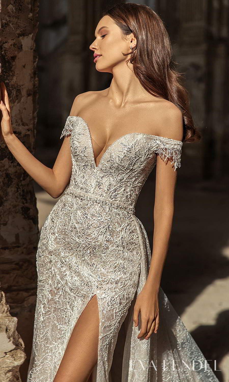 eva lendel 2021 golden hour bridal off shoulder straps sweetheart neckline fully embellished sheath wedding dress a line overskit chapel train (sydney) zv