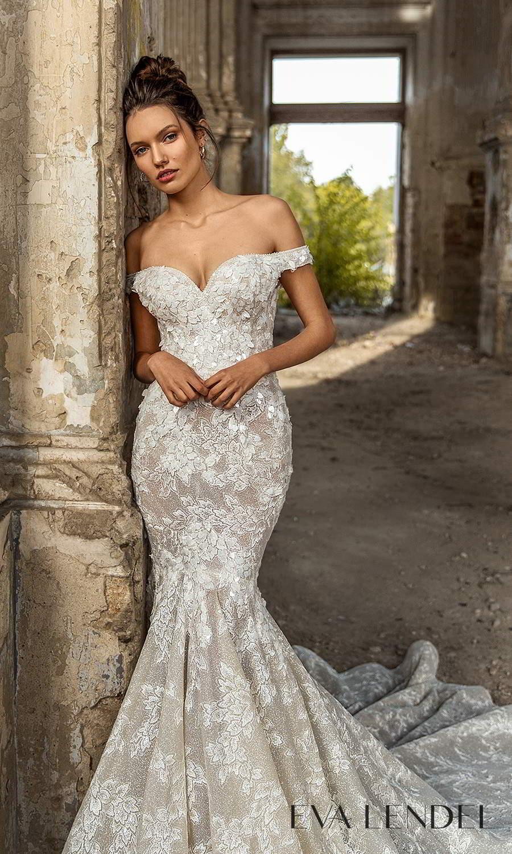 eva lendel 2021 golden hour bridal off shoulder straps sweetheart neckline fully embellished sheath wedding dress chapel train (paola) mv