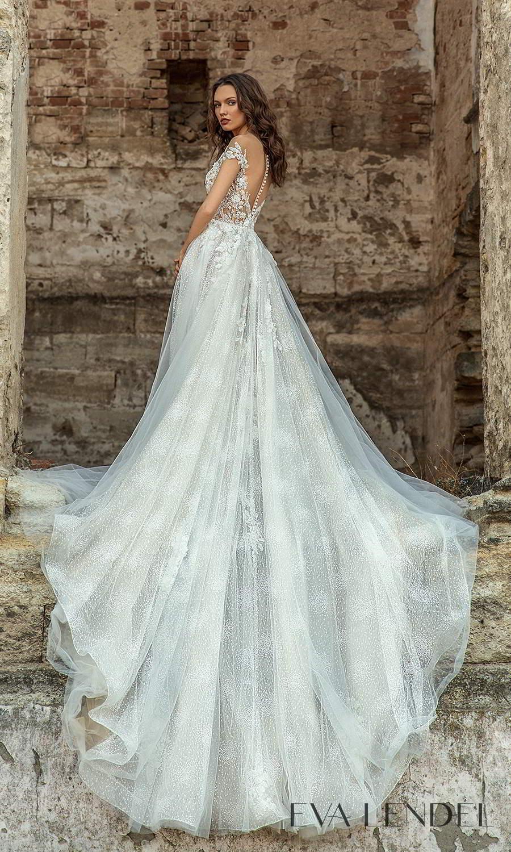 eva lendel 2021 golden hour bridal off shoulder straps sweetheart neckline heavily embellished a line ball gown wedding dress chapel train (veronika) bv