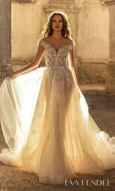 eva lendel 2021 golden hour bridal off shoulder straps sweetheart neckline heavily embellished a line ball gown wedding dress chapel train (veronika) mv