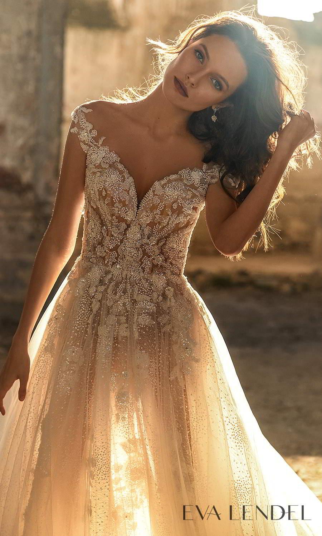 eva lendel 2021 golden hour bridal off shoulder straps sweetheart neckline heavily embellished a line ball gown wedding dress chapel train (veronika) zv