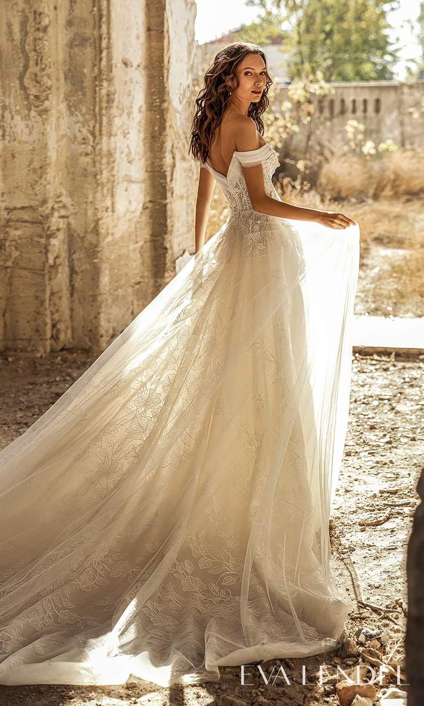 eva lendel 2021 golden hour bridal off shoulder swag strap sweetheart neckline fully embellished a line ball gown wedding dress chapel train (ivet) bv