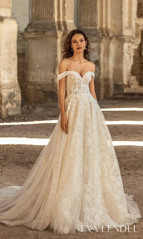 eva lendel 2021 golden hour bridal off shoulder swag strap sweetheart neckline fully embellished a line ball gown wedding dress chapel train (ivet) mv
