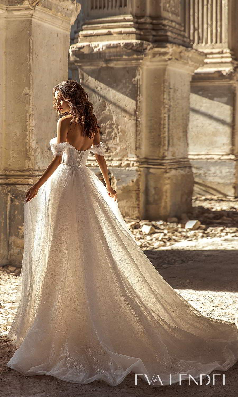 eva lendel 2021 golden hour bridal off shoulder swag straps sweetheart neckline fully embellished a line ball gown wedding dress chapel train (sky) bv
